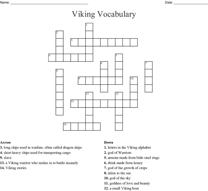 Printable Viking Crosswords