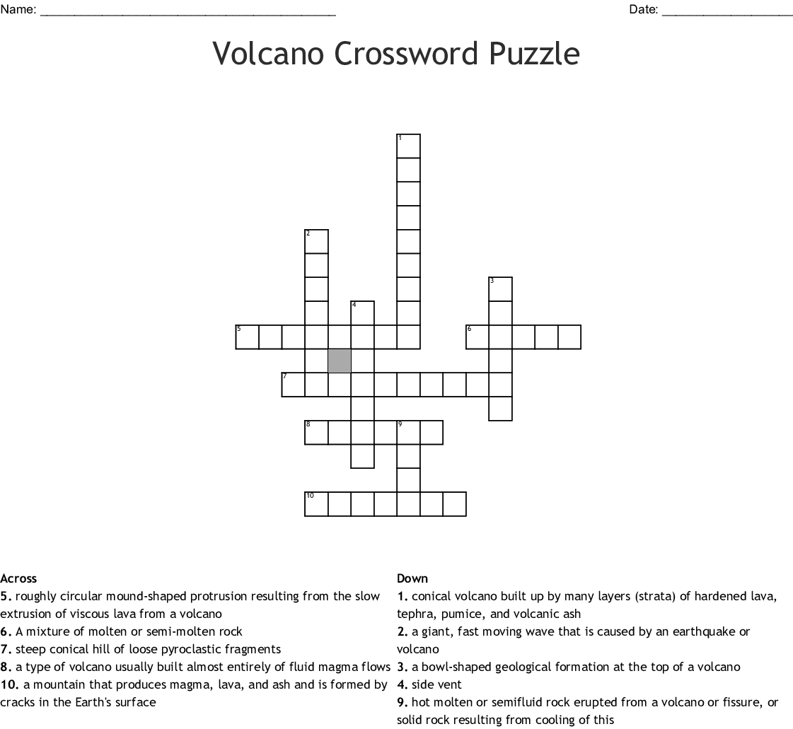 Volcano Crossword Puzzle Crossword - Wordmint - Volcano Crossword Puzzle Printable