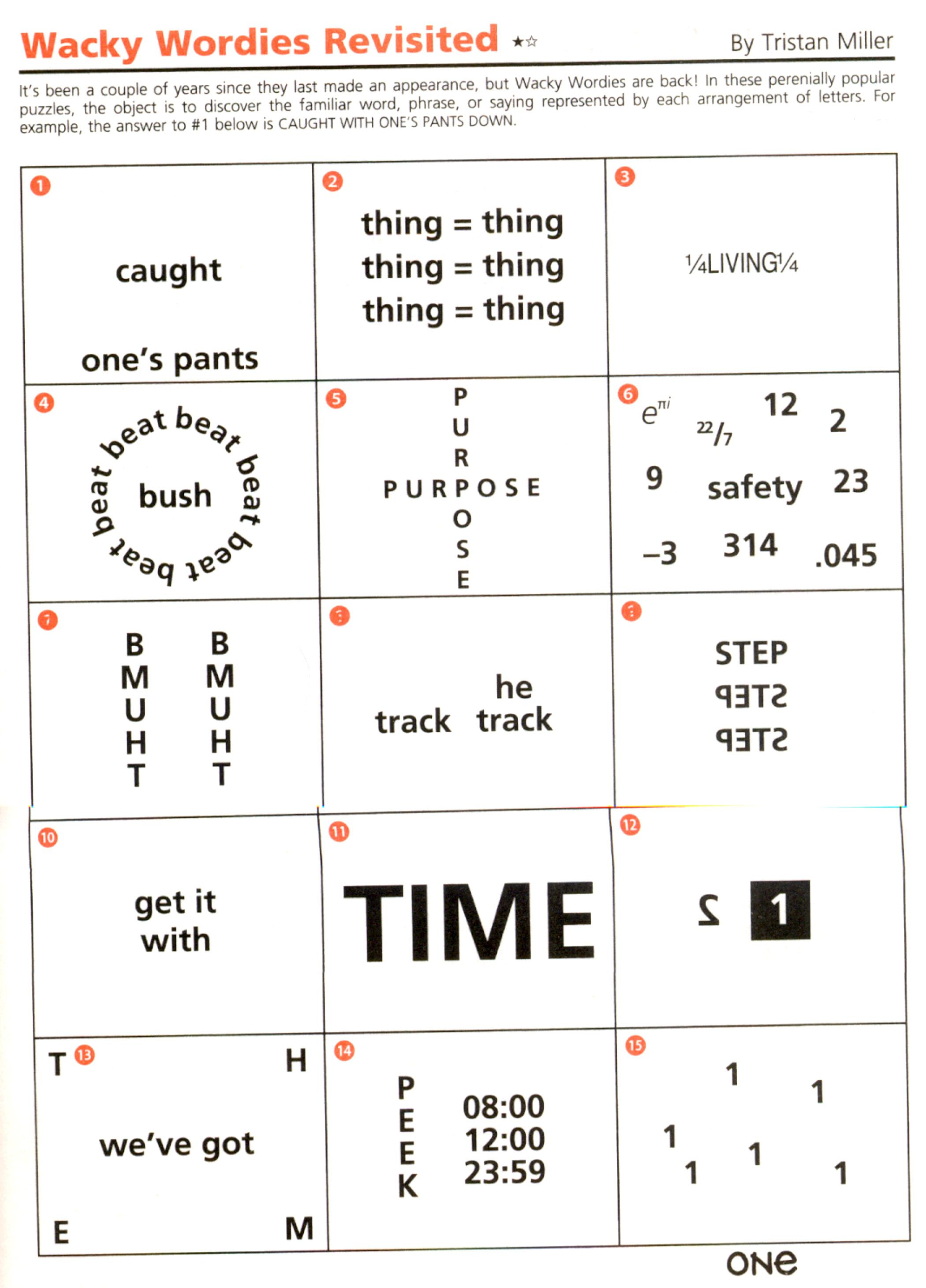 Wackie Wordies #92 | Teacher Ideas | Word Puzzles, Brain Teaser - Printable Rebus Puzzles Pdf