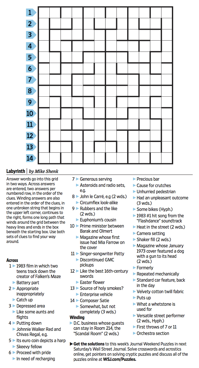 Wall Street Journal Crossword Contest - Journal Foto And Wallpaper - Printable Wsj Crossword
