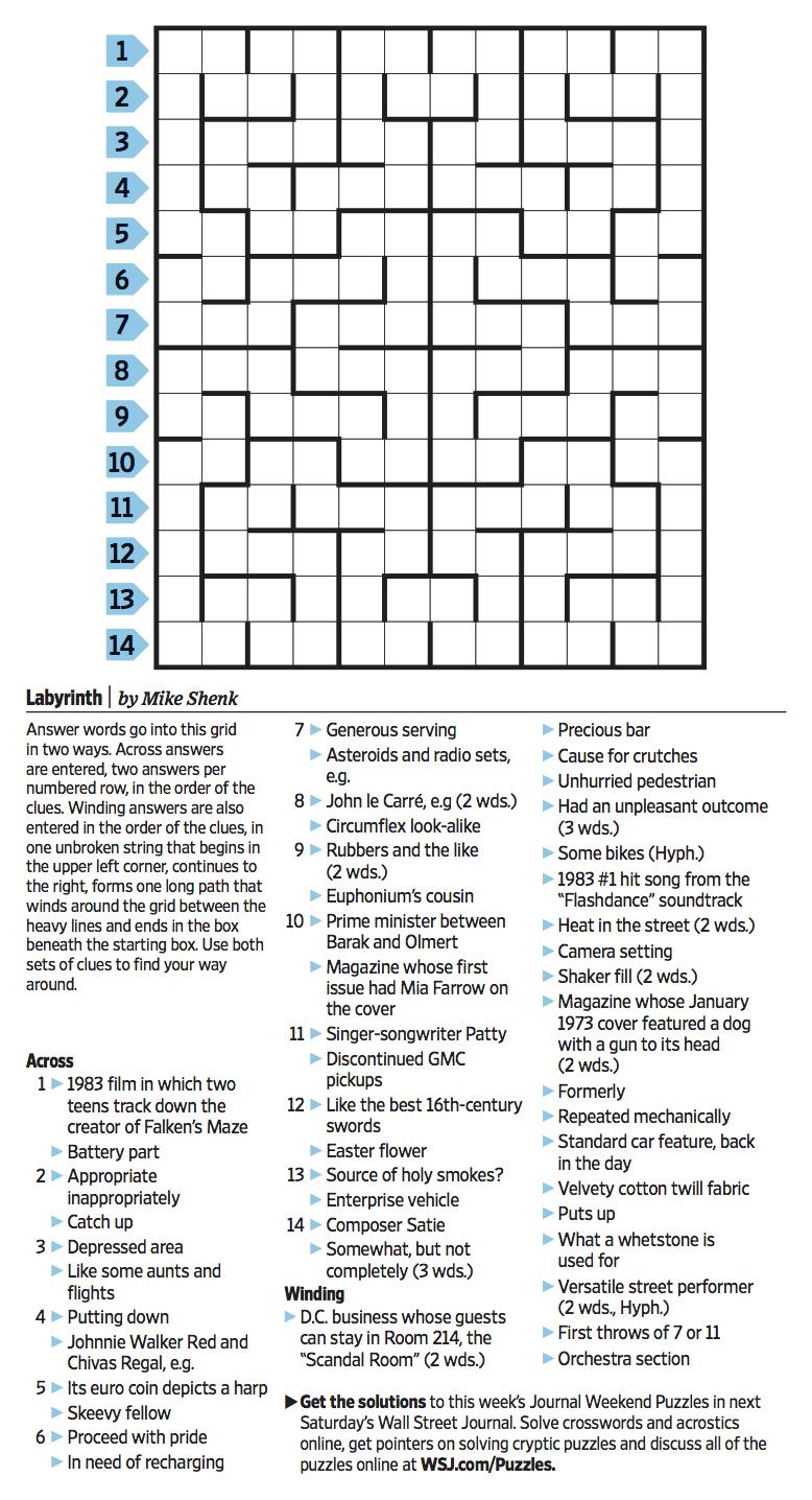 Wall Street Journal Crossword Contest - Journal Foto And Wallpaper - Wall Street Journal Crossword Puzzle Printable