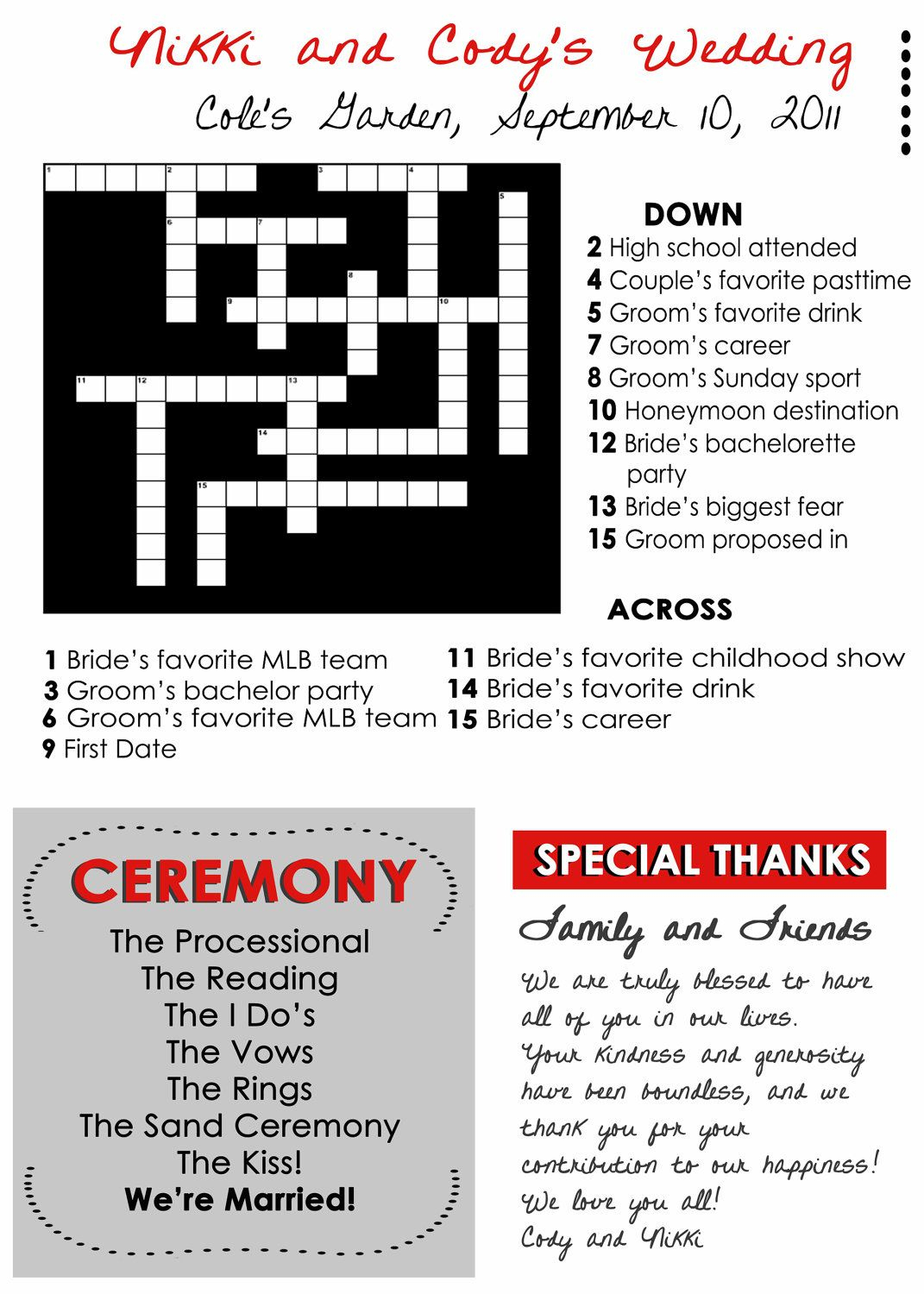 Wedding Program Fans Custom Crossword Puzzletwpweddings, $1.00 - Printable Naruto Crossword Puzzles