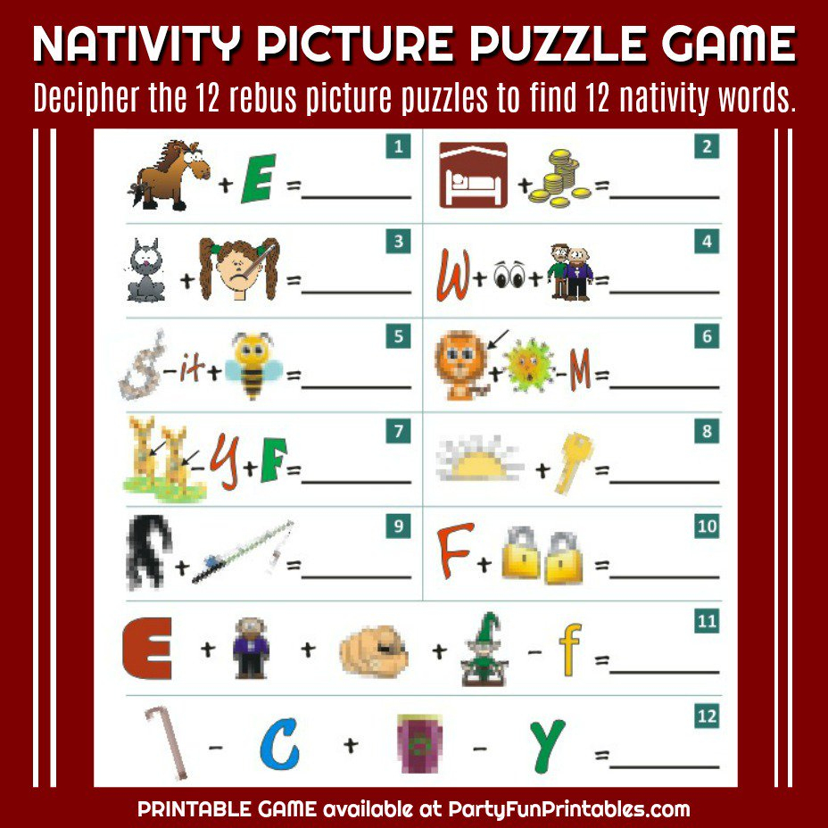 "Wendy Legendre On Twitter: ""nativity Christmas Picture Puzzle Game - Printable Christmas Rebus Puzzles"
