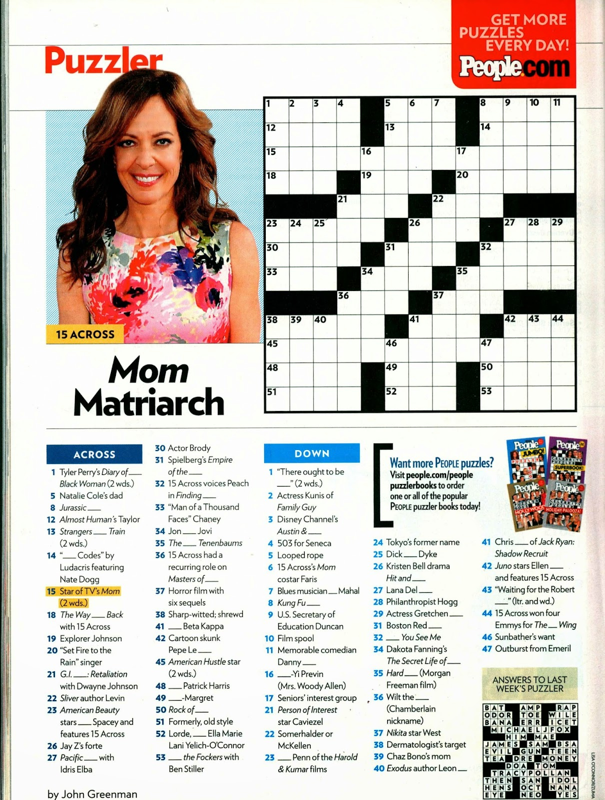 When Write Is Wrong: Down For The Count - Printable Crossword Puzzles From People Magazine
