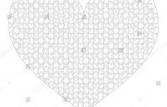 White Puzzles Pieces Arranged Heart Shape Stock Illustration   Printable Puzzle Heart