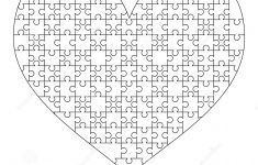 White Puzzles Pieces Arranged In A Heart Shape. Medium Jigsaw Puzzle   Printable Puzzle Heart
