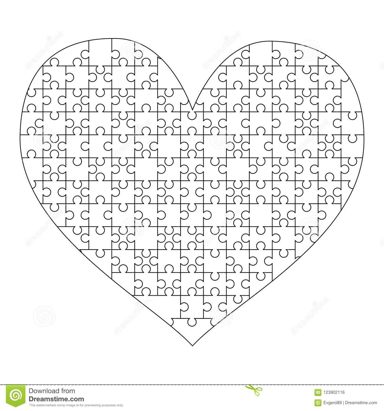 White Puzzles Pieces Arranged In A Heart Shape. Medium Jigsaw Puzzle - Printable Puzzle Heart