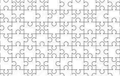 White Puzzles Pieces Seamless Pattern. Jigsaw Puzzle Template Ready   Print Puzzle From Photo