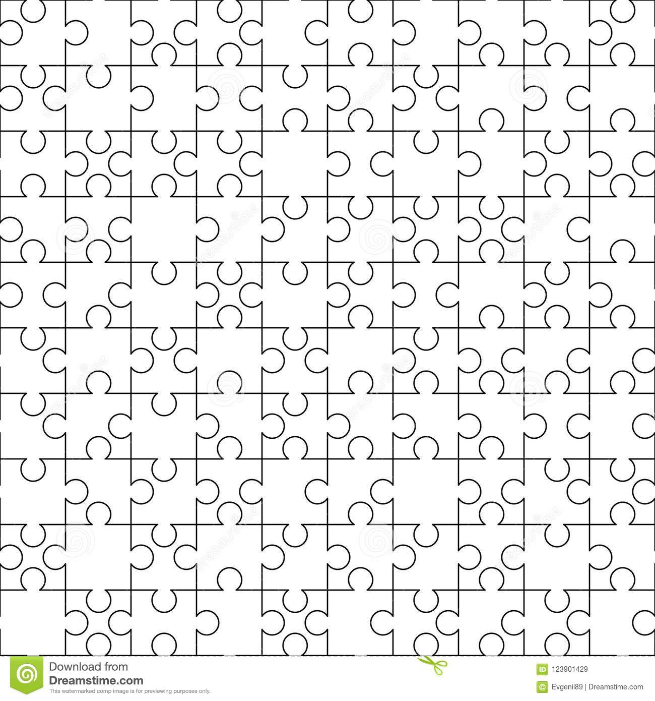 White Puzzles Pieces Seamless Pattern. Jigsaw Puzzle Template Ready - Print Puzzle From Photo