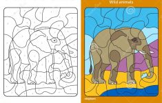 Wild Animals Coloring Page For Kids, Elephant. Stock Vector   Printable Elephant Puzzle