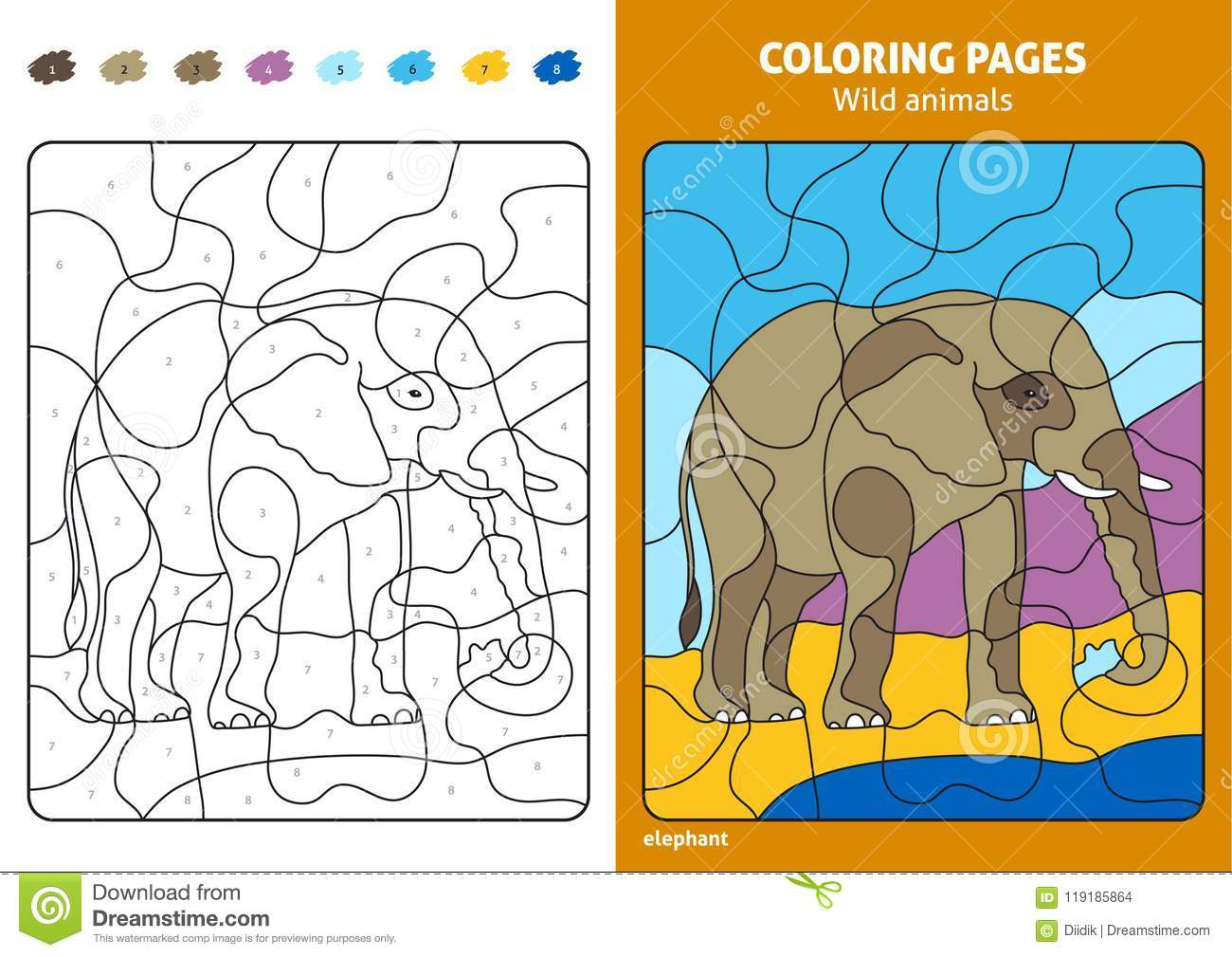 Wild Animals Coloring Page For Kids, Elephant. Stock Vector - Printable Elephant Puzzle