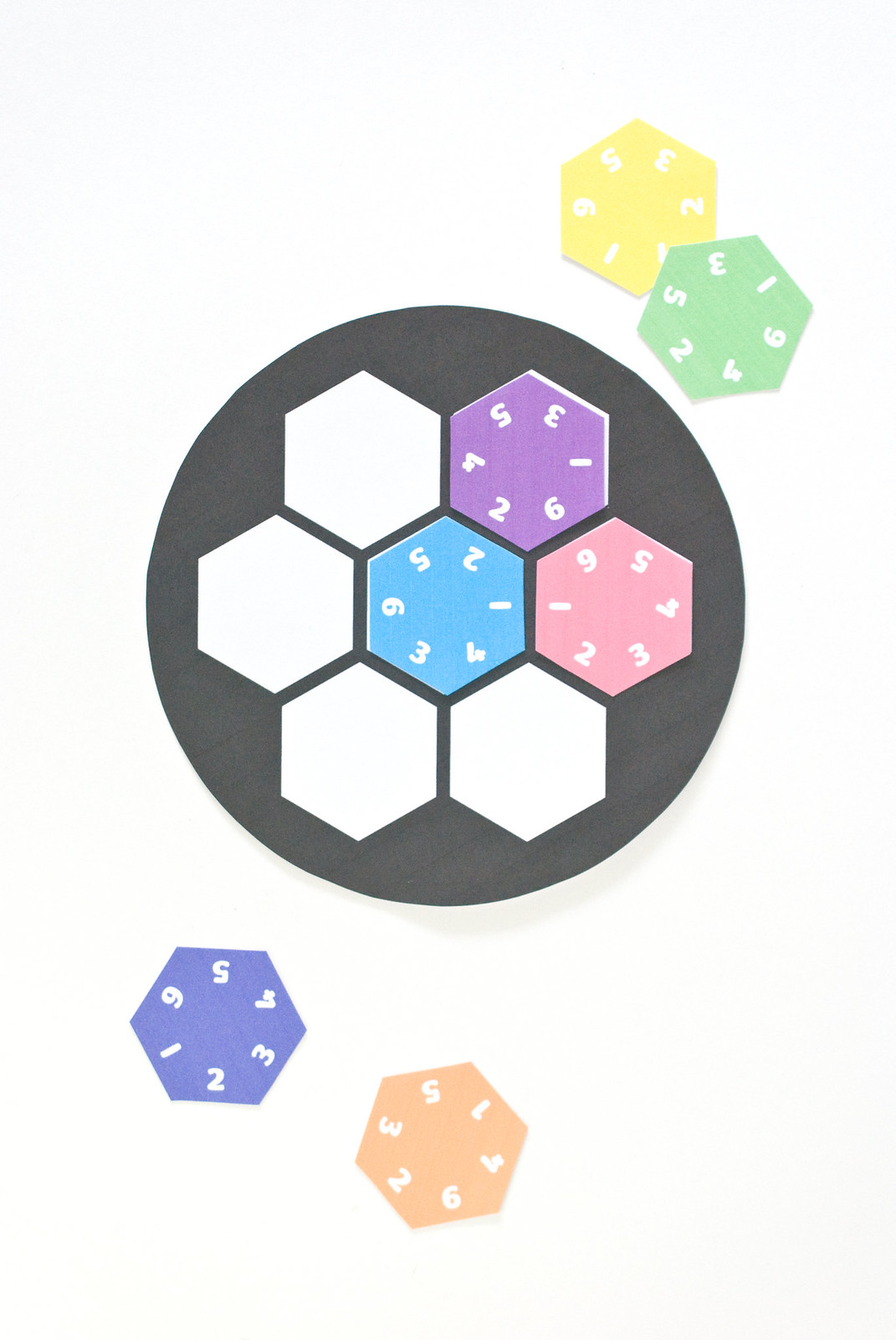 Wild Olive: Printable // Hexagon Number Puzzle - Printable Rainbow Number Puzzle