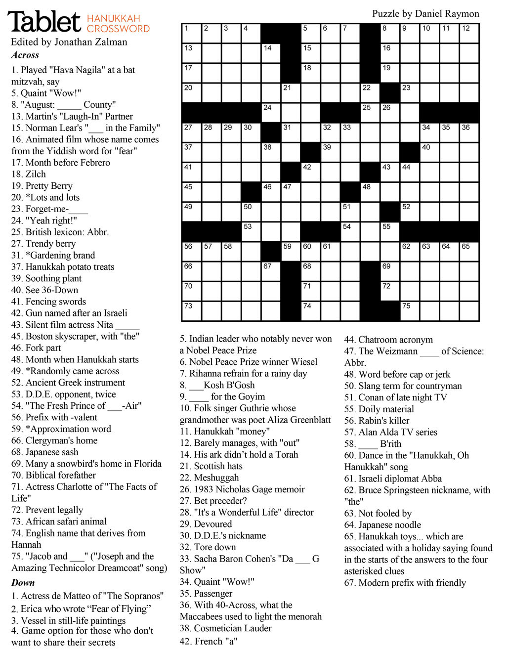 Wind Down With Our Hanukkah Crossword Puzzle! – Tablet Magazine - Printable Crossword Puzzles Middle School