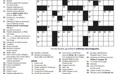 Winter 2018 Crossword   Whitman College   Printable Crossword Puzzle Pdf