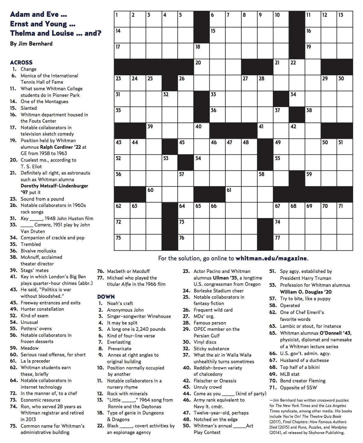 Winter 2018 Crossword | Whitman College - Printable Crossword Puzzle Pdf