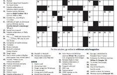 Winter 2018 Crossword | Whitman College   Printable Crossword Puzzles Pdf