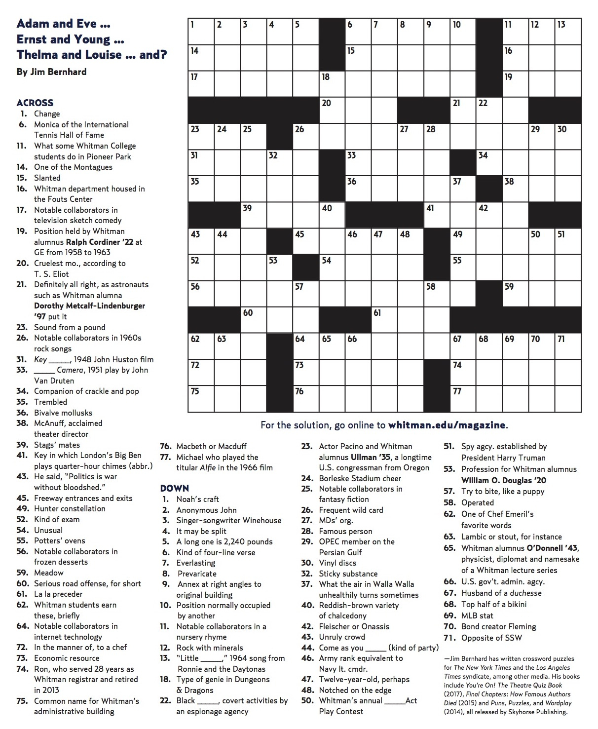 Winter 2018 Crossword | Whitman College - Printable Sunday Crossword 2018