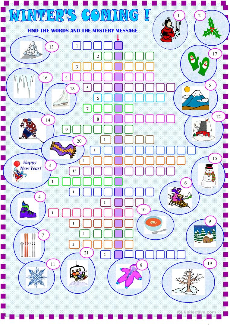 Winter : Crossword Puzzle With Key Worksheet - Free Esl Printable - Printable Winter Crossword Puzzles