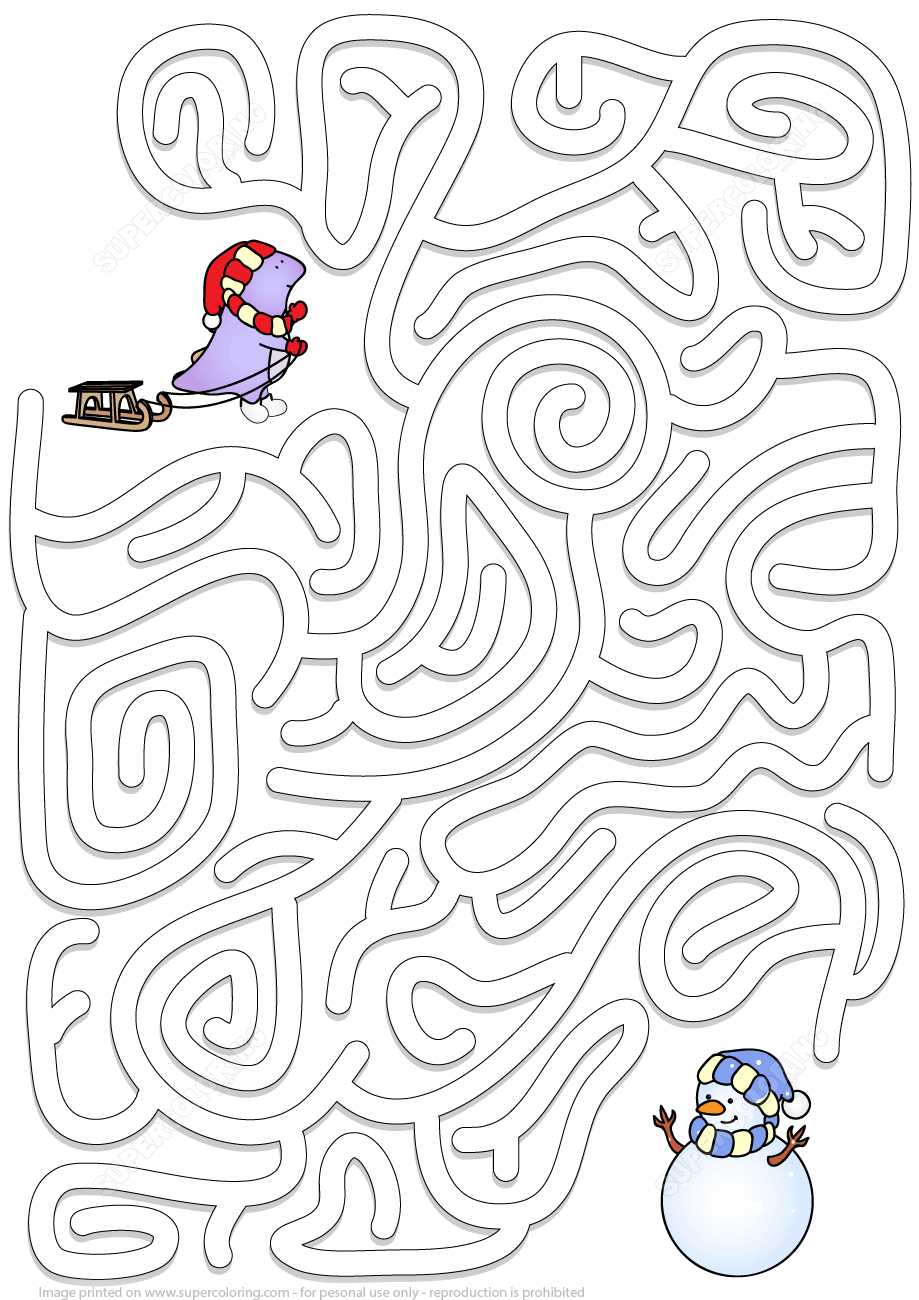 Winter Maze Puzzle   Free Printable Puzzle Games - Printable Labyrinth Puzzles