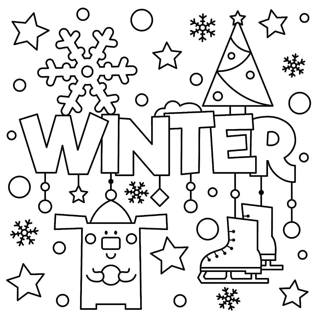 Winter Puzzle & Coloring Pages: Printable Winter-Themed Activity - Printable Winter Puzzle