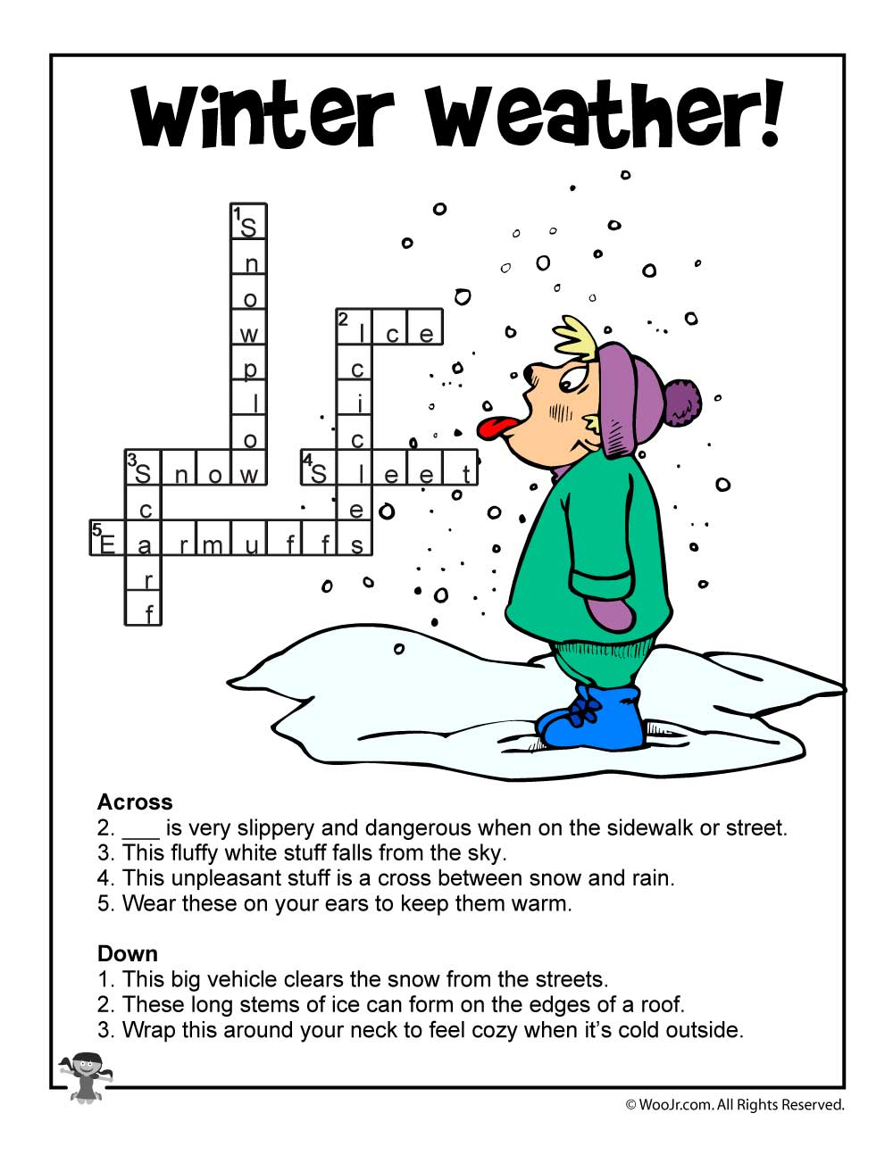 Winter Weather Crossword Puzzle Answer Key | Woo! Jr. Kids Activities - Printable Crossword Puzzles Winter