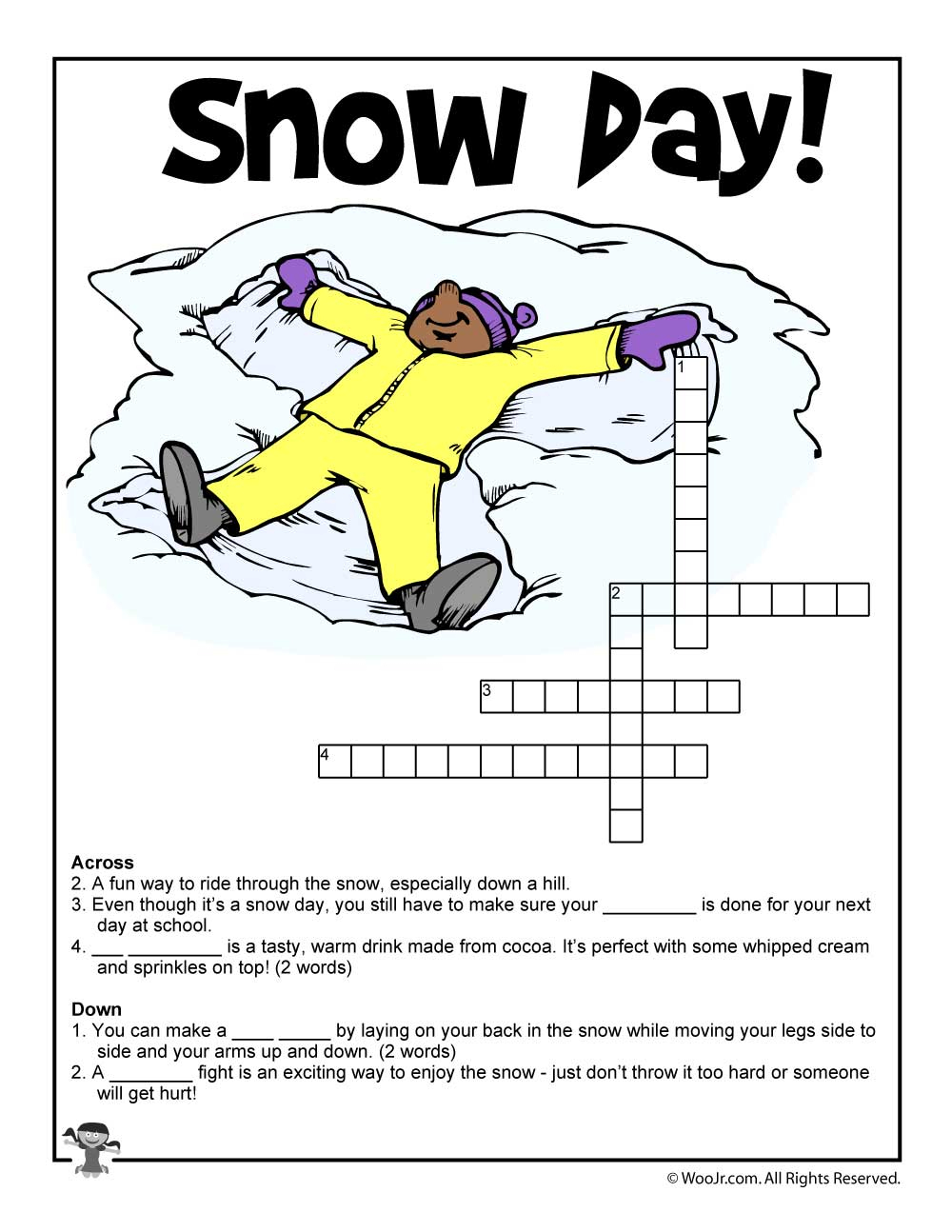 Winter Word Puzzles & Compound Words Vocabulary Worksheets | Woo! Jr - Printable Winter Crossword Puzzle