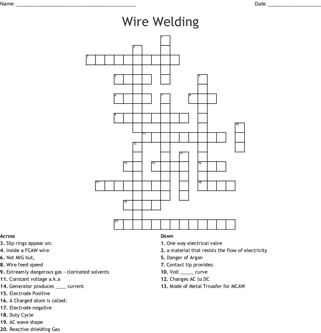 Wire Welding Crossword - Wordmint - Printable 2 Speed Crossword