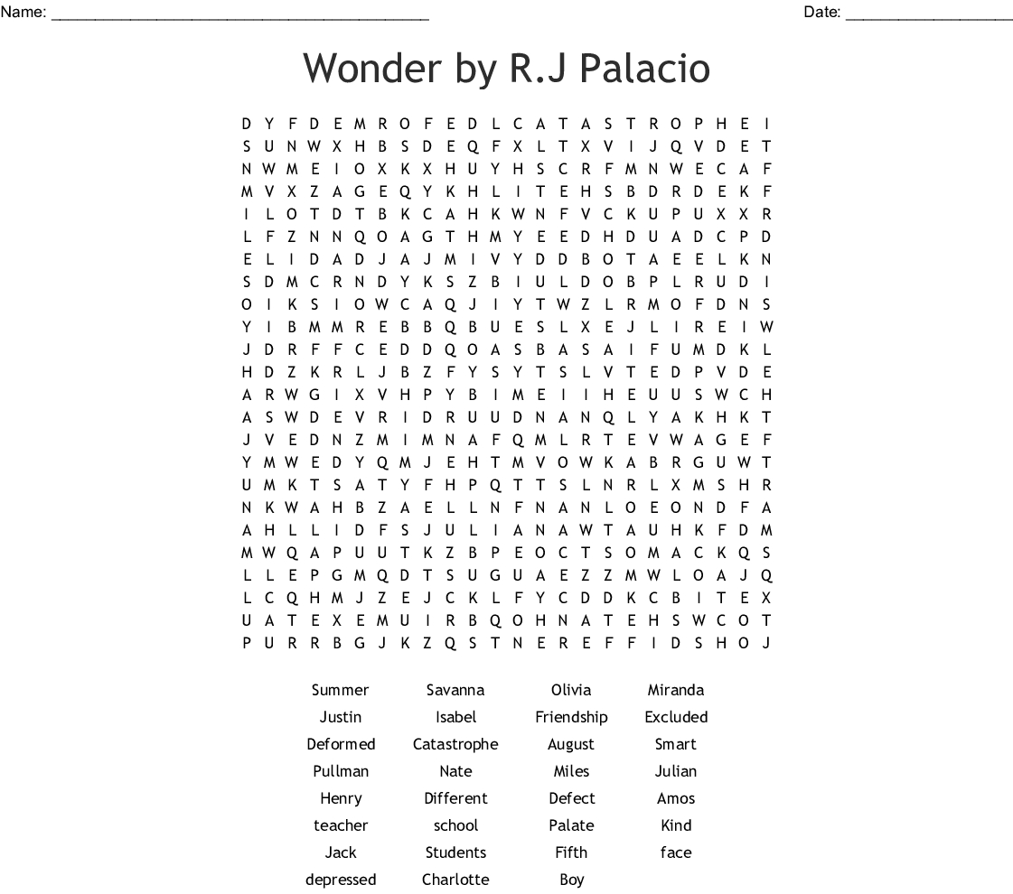 Wonderr.j Palacio Word Search - Wordmint - Printable Wonderword Puzzles