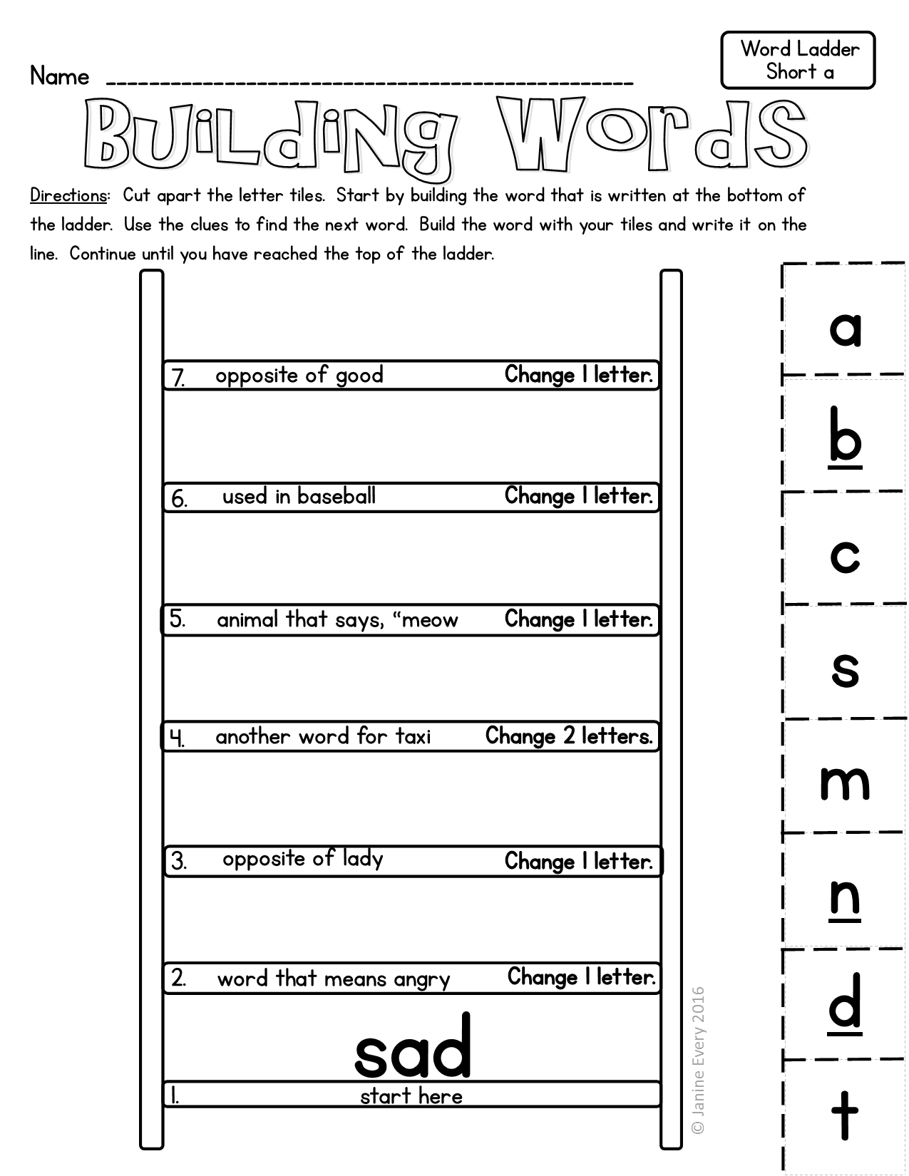 Word Ladders: Hands-On Printable Word Puzzles | First Grade Ela - Printable Ela Puzzles