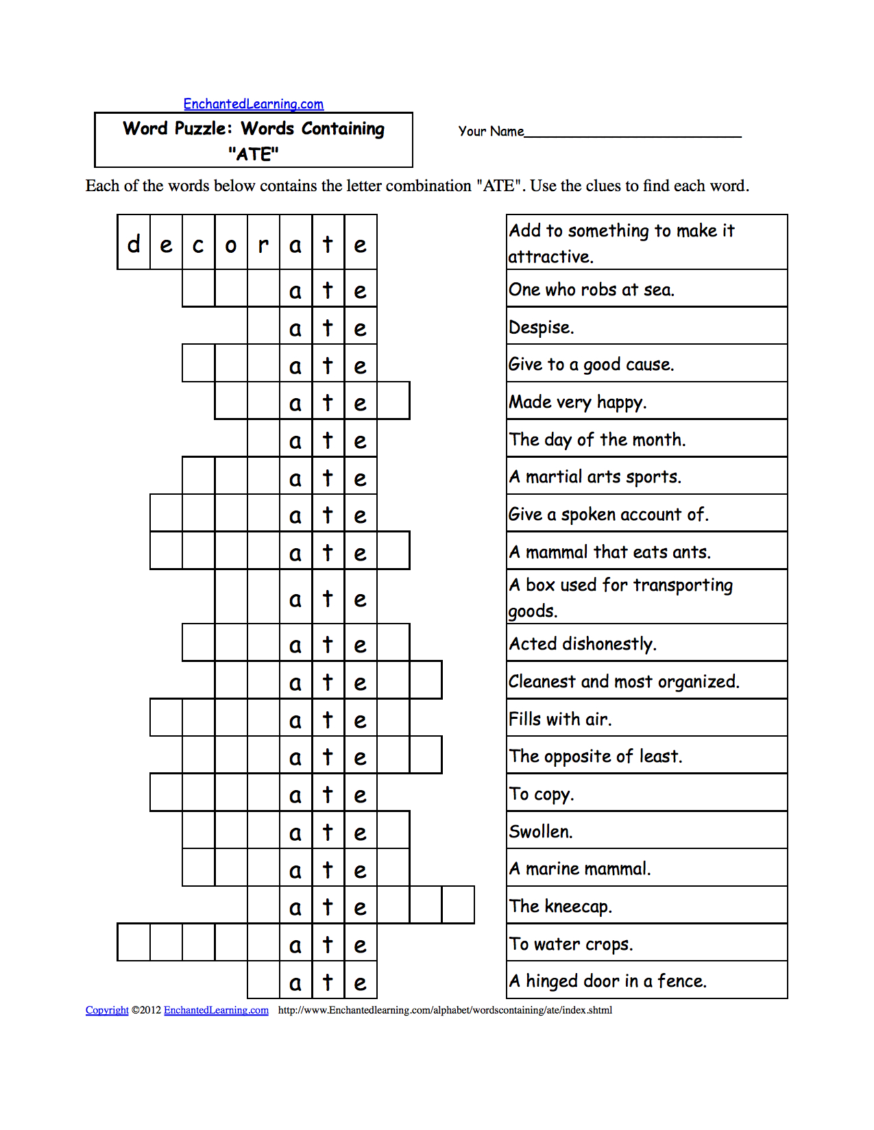 Word Puzzles: Words Containing Three-Letter Combinations: Worksheets - Printable Puzzle Pages