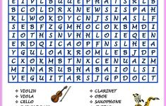 Word Search Musical Instruments (Hard Version) | Printables | Hard   Printable Music Puzzles