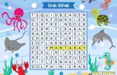 Words Search Puzzle Game Of Ocean Animals For Preschool Kids   Printable Animal Puzzle