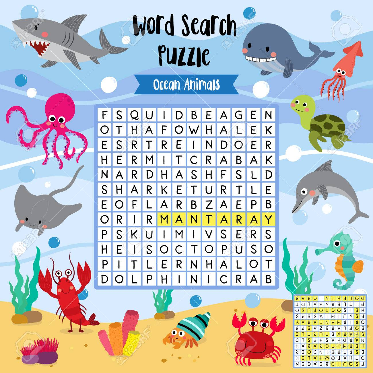 Words Search Puzzle Game Of Ocean Animals For Preschool Kids - Printable Animal Puzzle