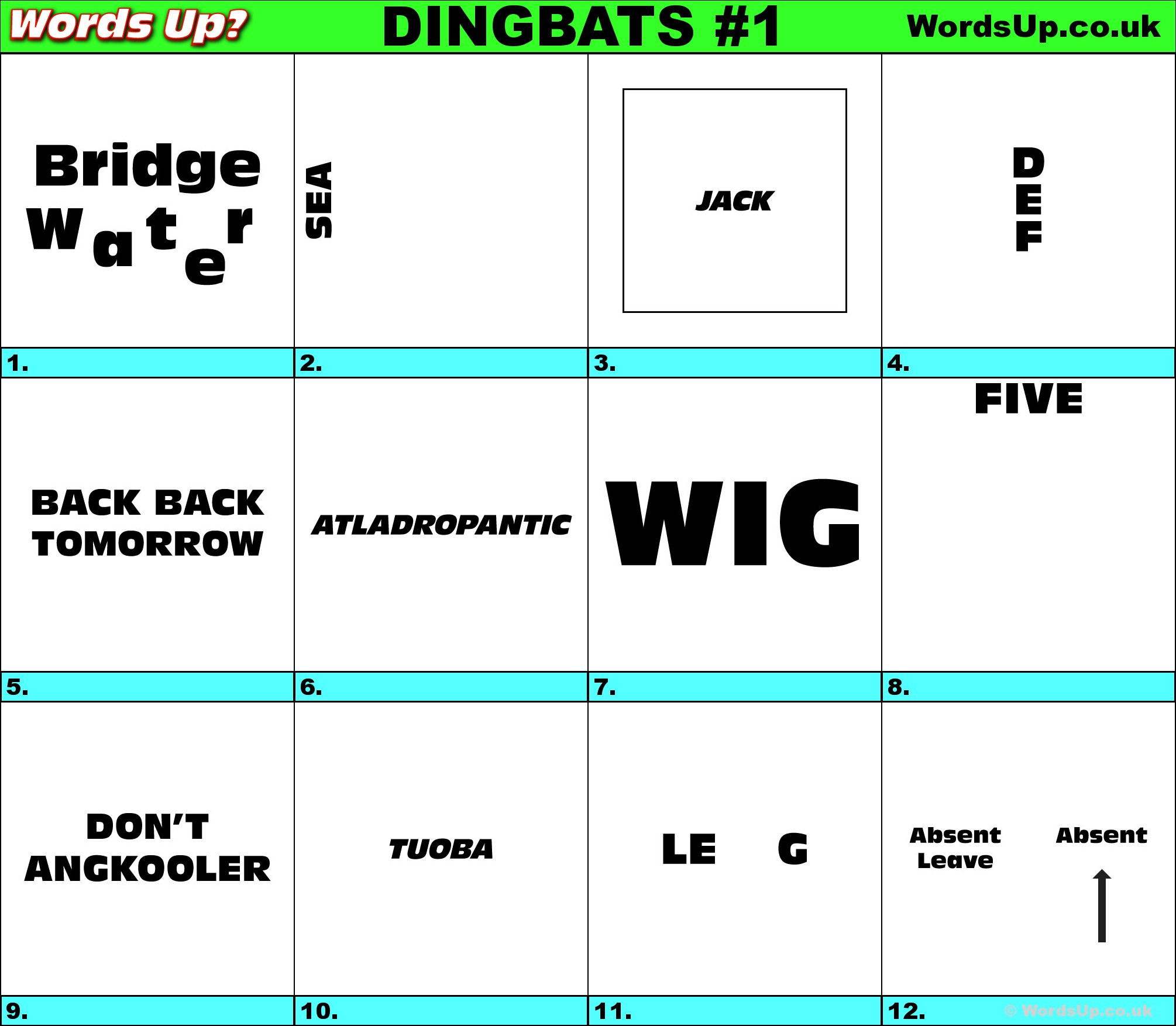 Words Up? Dingbat Puzzles - Printable Dingbat Puzzles With Answers