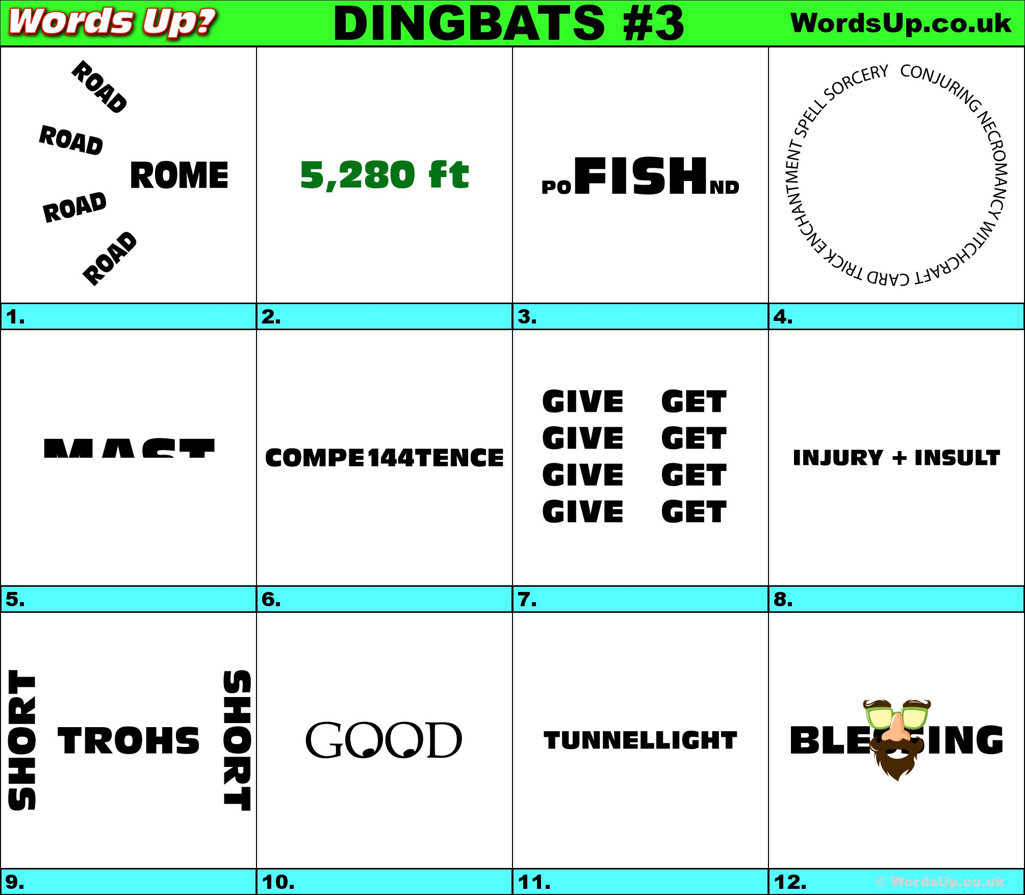 Words Up? Dingbat Puzzles - Printable Puzzle Quiz