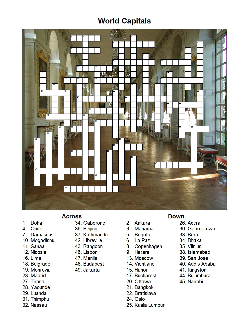 World Capitals Crossword Puzzle - Print Puzzle Jakarta