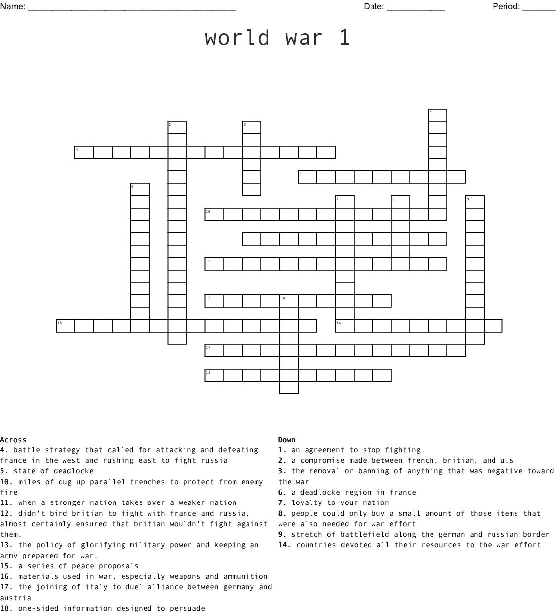 World War 1 Crossword - Wordmint - Wwi Crossword Puzzle Printable