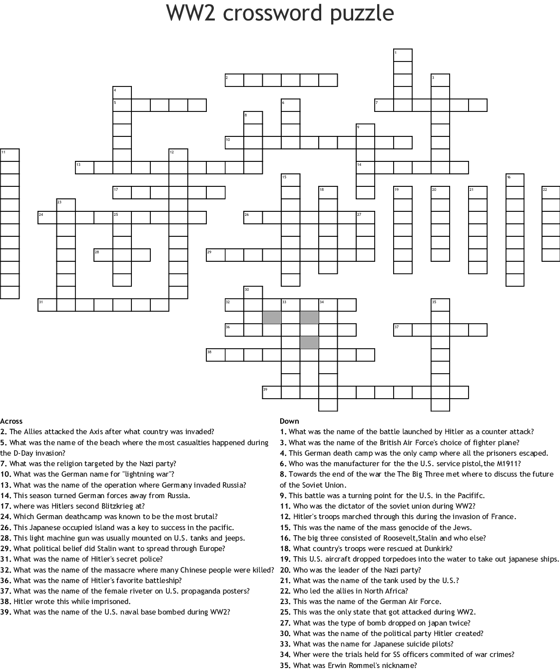 Ww2 Crossword Puzzle Crossword - Wordmint - Wwii Crossword Puzzle Printable