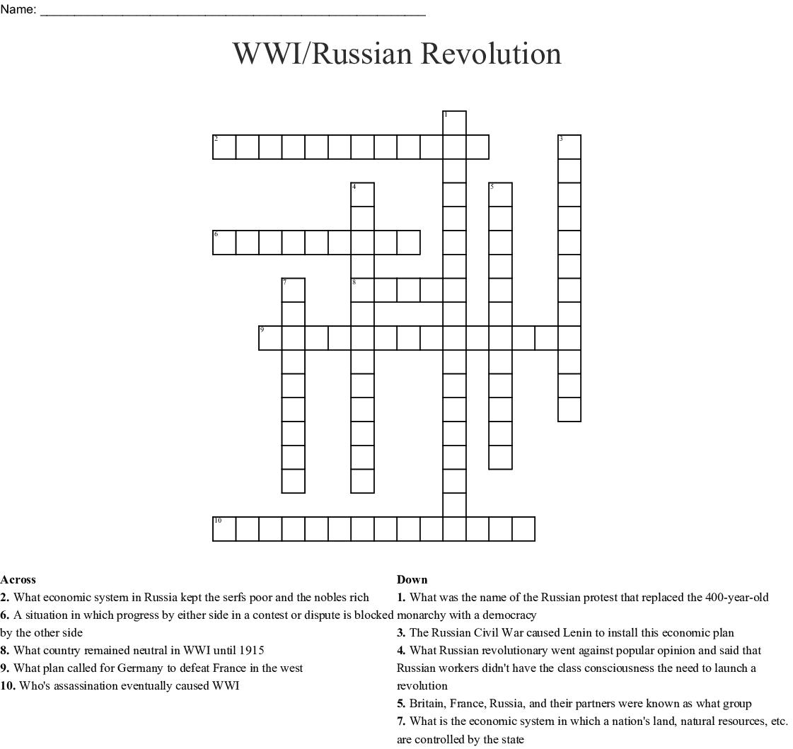 Wwi/russian Revolution Crossword - Wordmint - Printable Russian Crosswords