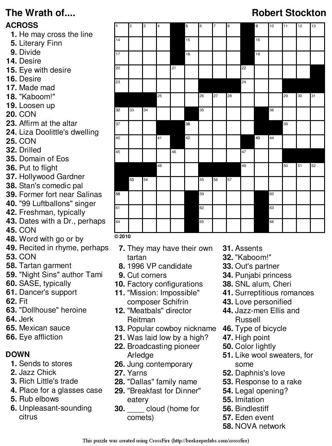 Printable Crossword Puzzles Robert Stockton